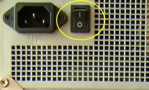 кнопка включения блока питания компьютера
